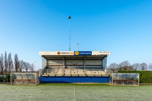 Tribune bij sportvelden voetbal Angerlo Vooruit