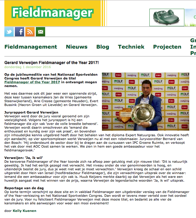 Publicatie Fieldmanager of the Year - Gerard Verweijen in Fieldmanager.nl