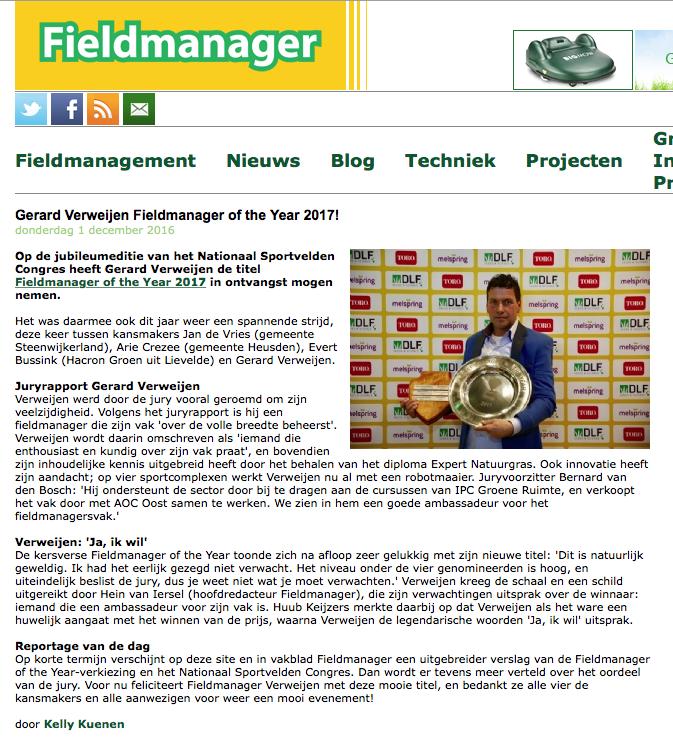 Publicatie Fieldmanager of the Year - Gerard Verweijen in Fieldmanager.nl