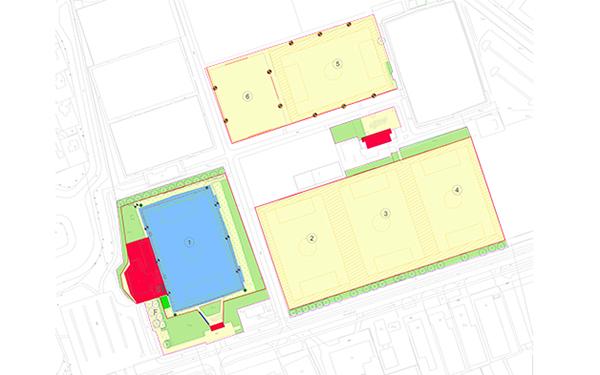 Plattegrond voetbalvelden DCS in Zevenaar